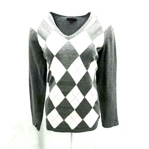 Tommy Hilfiger Pullover Argyle Sweater Sz XL Gray